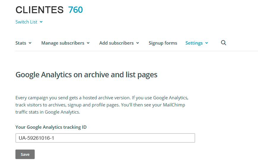 mailchimp tracking ID Analytics