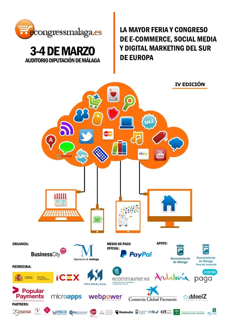 Cartel eCongress Málaga 2016 - Econgress Málaga 2016, evento líder sobre e-commerce, Social Media y Marketing Digital