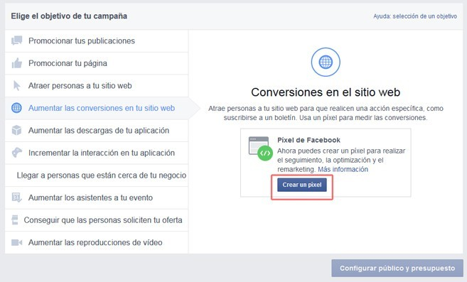 objetivos campaña Facebook Ads