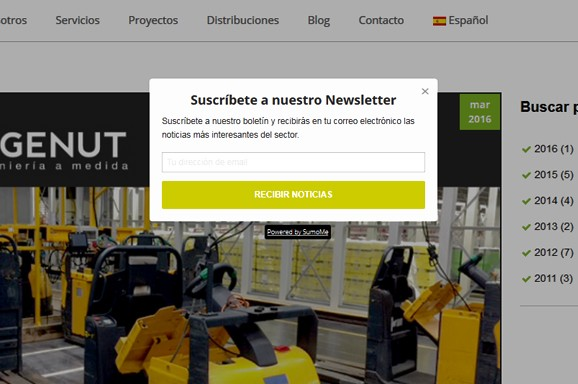 pop up newsletter inbound marketing