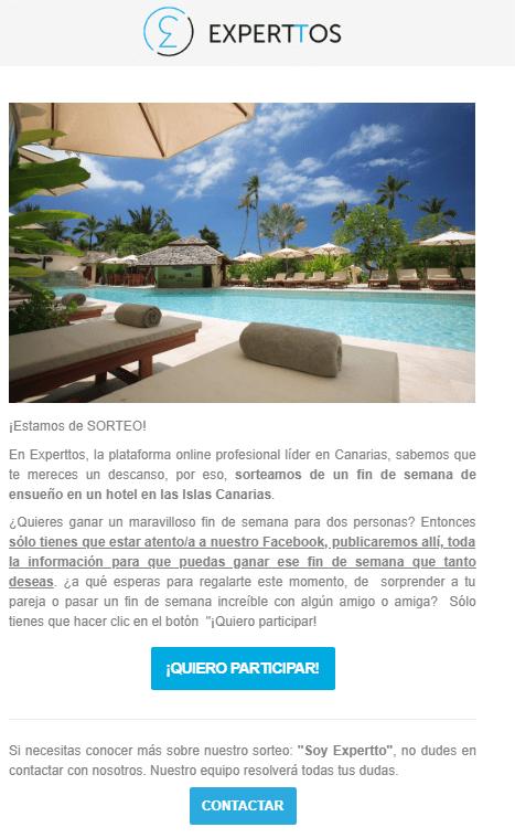 Diseño y gestión Concurso email Marketing Experttos iMeelZ - Trabajos
