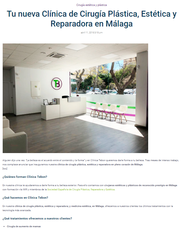 Marketing de Contenidos Blog Clínica Cirugía Estética Tebon iMeelZ - Trabajos