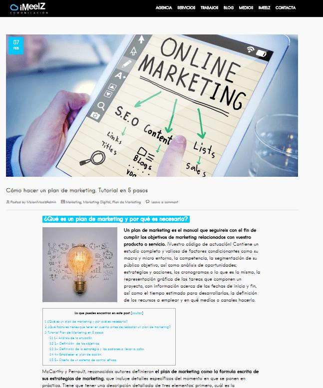 Marketing de Contenidos Blog iMeelZ - Trabajos